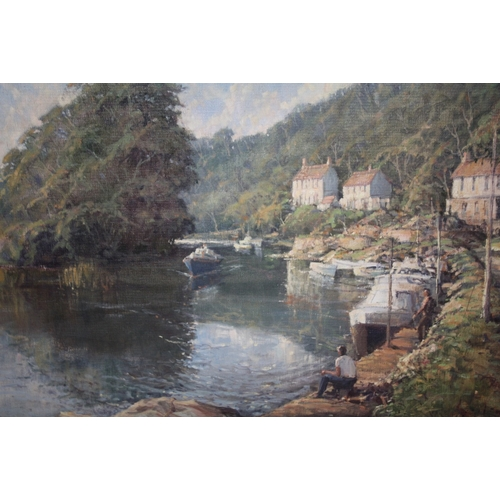 16 - R.G.TROW (XX). Modern British school .Mill on the Avon' with boats and figures, see verso, signed an...