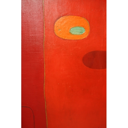 18 - (XX). Abstract composition, indistinctly signed lower right, oil on board, framed, 75 x 49 cm...