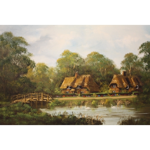 2 - A GILT FRAMED OIL ON CANVAS DEPICTING COUNTRY COTTAGES SIGNED BARTON STACEY VERSO...