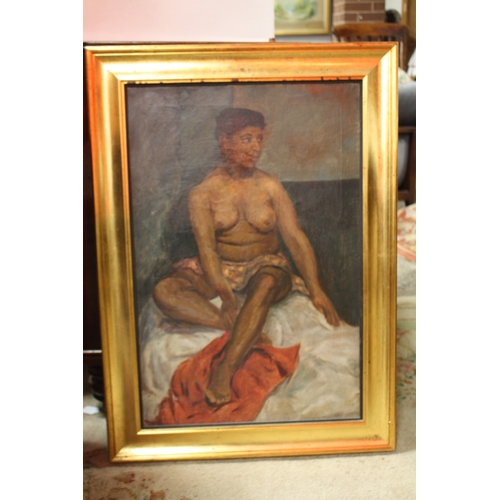 20 - SLADE SCHOOL (XX). Study of a seated semi-nude female, indistinctly inscribed verso, unsigned, oil o...