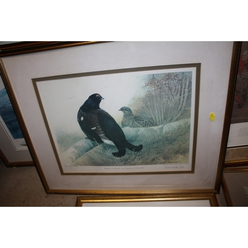 24 - A COLLECTION OF PRINTS TO INCLUDE A SIGNED LIMITED EDITION BLACK LABRADOR PRINT, THREE GILT FRAMED A...