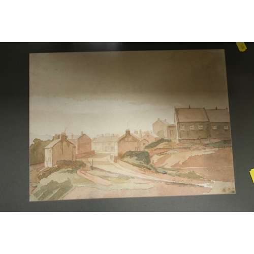 26 - THREE ASSORTED FRAMED WATERCOLOURS TO INCLUDE SUBURBAN STREET SCENE SIGNED GEORGE LEE...