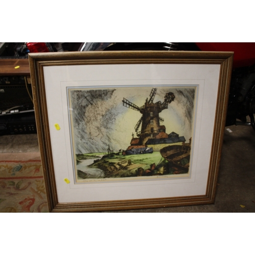 28 - A FRAMED AND GLAZED HAND COLOURED SIGNED ETCHINGS BY JAMES PRIDDY ENTITLED CLAY-NEXT THE SEA, NORFOL...