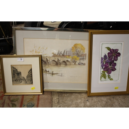 30 - TWO FRAMED AND GLAZED ETCHINGS TOGETHER WITH A PRINT (3)...