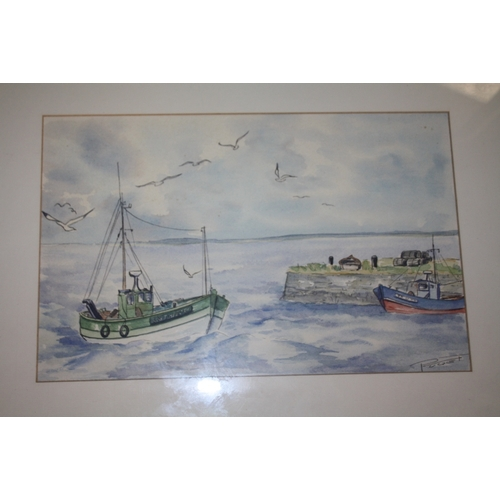 31 - A COLLECTION OF FRAMED NEEDLEWORKS AND PRINTS TOGETHER WITH A WATERCOLOUR OF A HARBOUR SCENE (5)...