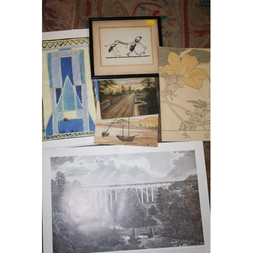 32 - A COLLECTION OF PICTURES AND PRINTS TO INCLUDE AN UNFRAMED WATERCOLOUR OF THE ESSEX BRIDGE AT SHUGBO...