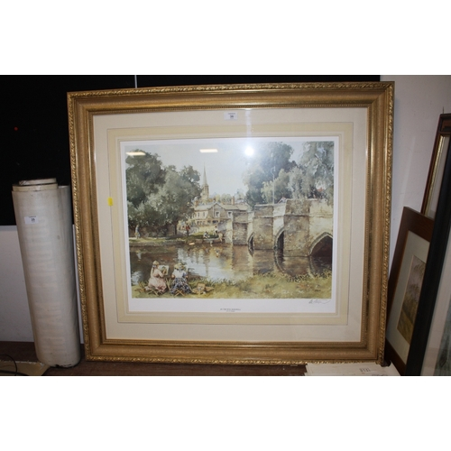 36 - A LARGE GILT FRAMED AND GLAZED PRINT SIGNED E R STURGEON ENTITLED BY THE WYE BAKEWELL<br>...