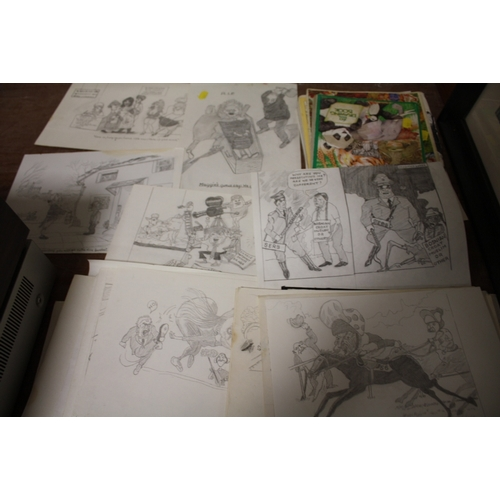 37 - A COLLECTION OF UNFRAMED NOVELTY COMICAL PENCIL SKETCHES, SKETCH BOOKS ETC...