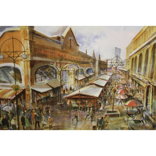 39 - A PAIR OF FRAMED AND GLAZED BIRMINGHAM BULLRING MARKETS INTEREST MIXED MEDIA PICTURES...