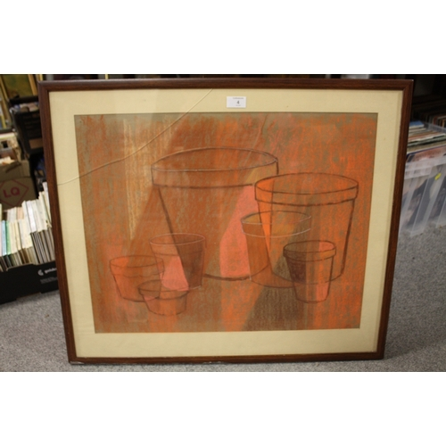 4 - A FRAMED ABSTRACT PASTEL OF PLANT POTS...