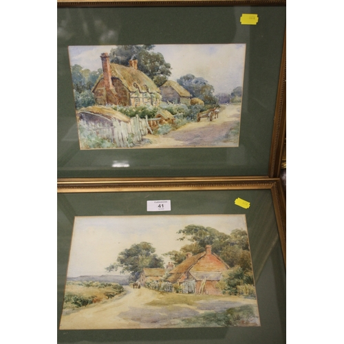 41 - A PAIR OF FRAME AND GLAZED WATERCOLOURS OF COUNTRY COTTAGES SIGNED R E WILLIAM...