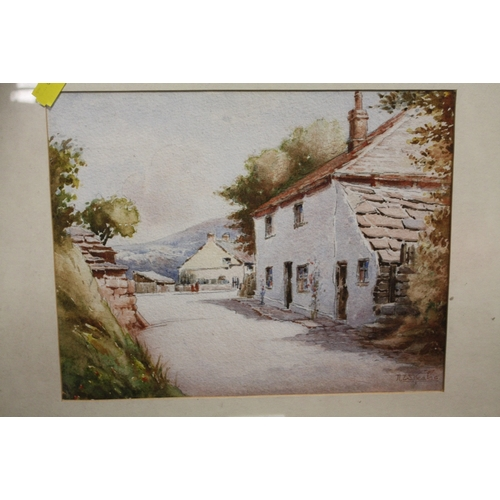 42 - THREE ASSORTED WATERCOLOURS TO INCLUDE A COUNTRY LANE SIGNED N.W.KEATES...