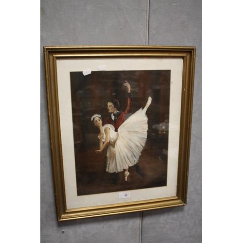 45 - A FRAMED AND GLAZED OIL PAINTING OF BALLET DANCERS<br>...