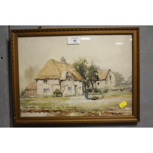46 - A GILT FRAMED AND GLAZED WATERCOLOUR OF A FIGURE FEEDING CHICKENS BY A COTTAGE SIGNED H CUBBERLY LOW...