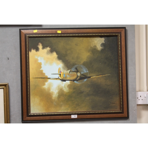 48 - A FRAMED OIL ON BOARD OF A SPITFIRE SIGNED T CAINE LOWER RIGHT...