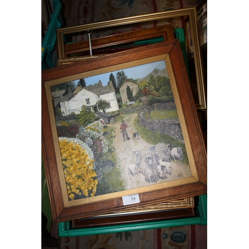 54 - A BOX OF PICTURES AND PRINTS TO INCLUDE AN OIL ON BOARD OF A SHEPERD DRIVING SHEEP SIGNED FANNY...