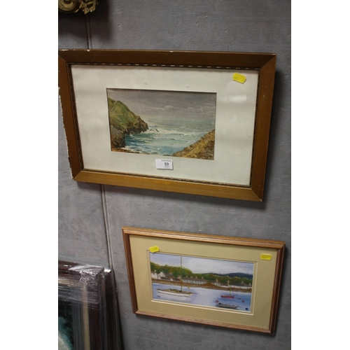 59 - A FRAMED AND GLAZED WATERCOLOUR SEA SCAPE TOGETHER WITH A PASTEL OF A HARBOUR (20...