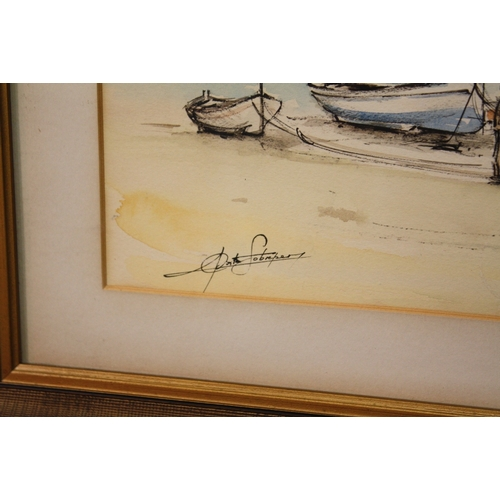 7 - A FRAMED AND GLAZED WATERCOLOUR DEPICTING A CONTINENTAL HARBOUR SCENE INDISTINCTLY SIGNED LOWER LEFT...