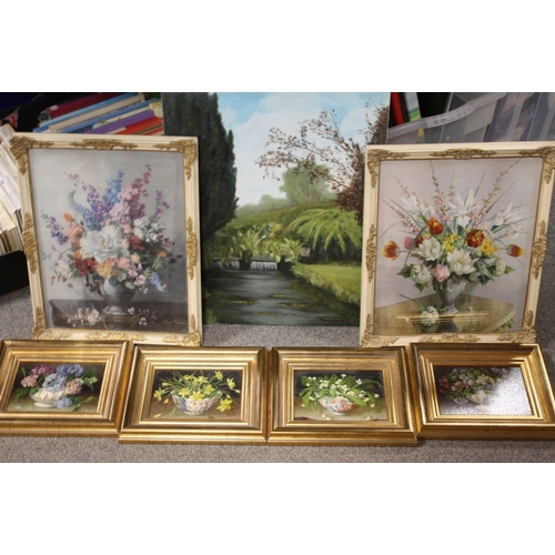 9 - AN UNFRAMED OIL ON BOARD DEPICTING A COUNTRY STREAM, TOGETHER WITH A PAIR OF FLORAL VERNON WARD PRIN...
