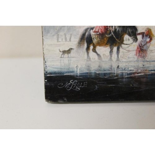 1 - C.M. LISLE (XX). A Dutch stormy frozen river landscape with dog, horse and figures before a farmstea...