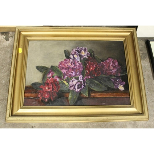 12 - A COLLECTION OF ASSORTED PICTURES AND PRINTS TO INCLUDE AN ANTIQUE STILL LIFE OIL ON CANVAS STAMPED ...