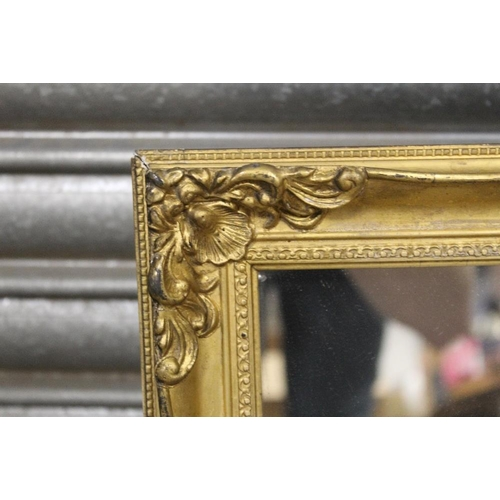 13 - A GILT FRAMED ARCH TOPPED WALL MIRROR OVERALL- 86CM X 47CM , TOGETHER WITH TWO OTHER WALL MIRRORS (3...