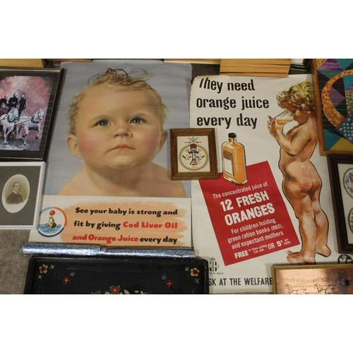 14 - A BOX OF PICTURES AND PRINTS TO INCLUDE VINTAGE UNFRAMED ORANGE JUICE ADVERTISING POSTERS, CROSS STI...