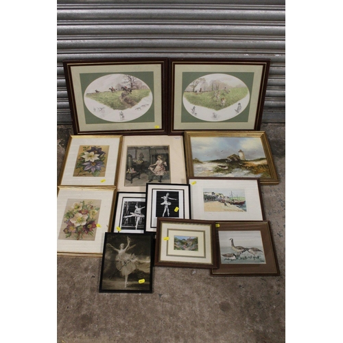 15 - A COLLECTION OF ASSORTED PICTURES AND PRINTS TO INCLUDE A GILT FRAMED OIL ON CANVAS, BALLERINA PICTU...
