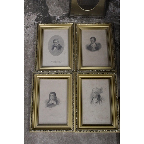16 - A SMALL TRAY OF PICTURES TO INCLUDE PORTRAIT ENGRAVINGS, FRAMES ETC.