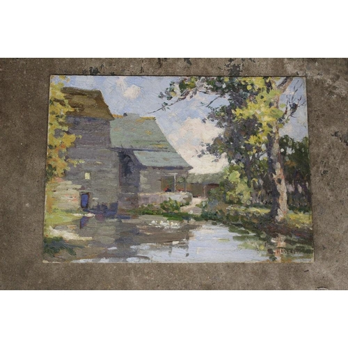 18 - HASLAM (XX). An impressionist farmstead scene with ducks on a pond surrounded by trees. Signed lower...