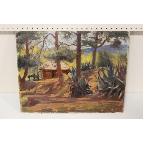 19 - ERROL S. BAYLEY (XX). An impressionist continental mountainous wooded landscape with cottage, horse ...