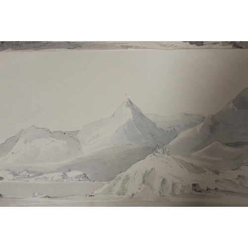 2 - MARY MARTIN, NEE BUCKLE (b. 1800). Two monotone mountainous landscapes with buildings. Unsigned, wat...
