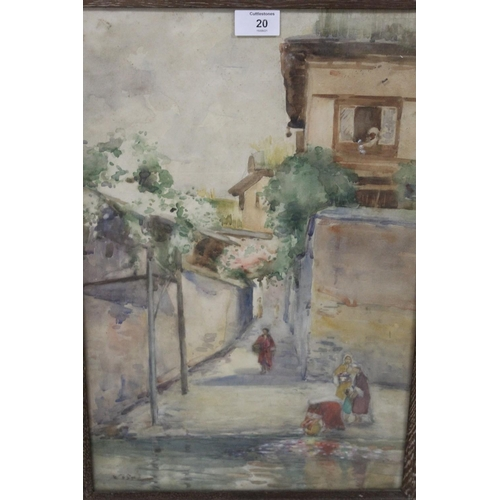 20 - (XIX-XX). A continental street scene with figures, indistinctly signed lower left, watercolour, fram...