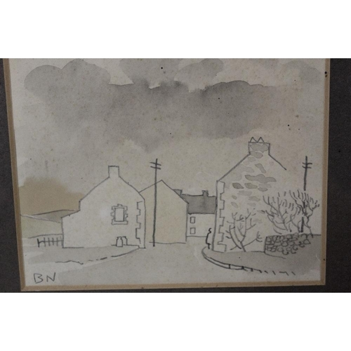 21 - B.N. (XX) BRITISH SCHOOL. A stormy village street scene with figure, signed with initials lower left...