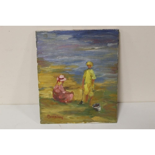 22 - BROPHY (XX).  An impressionist beach scene with two children. Signed lower left, oil on canvas, unfr...