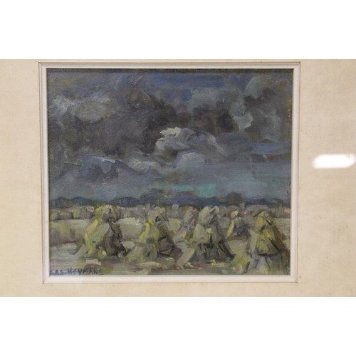24 - BAS. HEYMANS (XX). Dutch school, an impressionist stormy landscape with corn stooks. Signed lower le...
