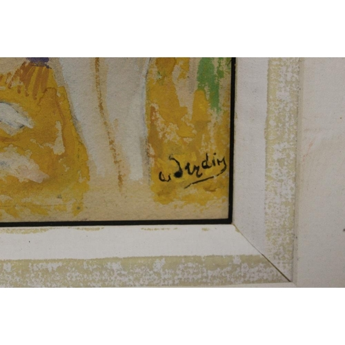 25 - (XX). A modernist study of male and female nudes in a landscape, signed lower right, watercolour, un...