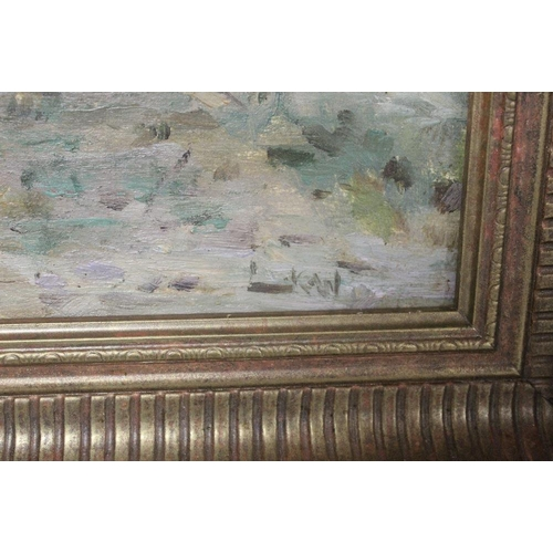 26 - L.K.W. (XX). An impressionist beach scene with horse. signed with initials lower right, oil on board...