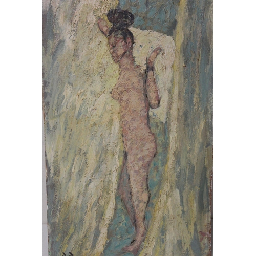 28 - B. D. (XX).  An impressionist study of a female nude. Signed with initials lower left, oil on board,...
