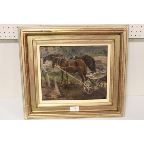 29 - (XX).  An impressionist study of working horses and carts. Signed lower left, oil on board, framed, ...