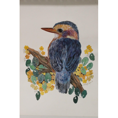 3 - J.G. EISWORTHY PAYNE. Two colourful studies of birds on branches. Signed and dated 1974 and 1970, wa...