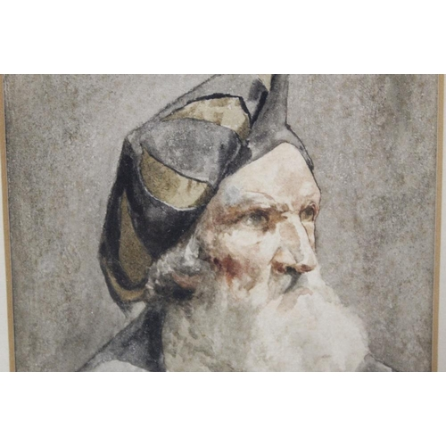 30 - (XIX - XX). A head and shoulder portrait study of a bearded gentleman in medieval dress, unsigned, w...