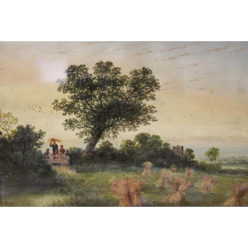 31 - J B DAVIS (XIX). A harvest scene with figures, signed lower left and dated 1884, oil, framed and gla...