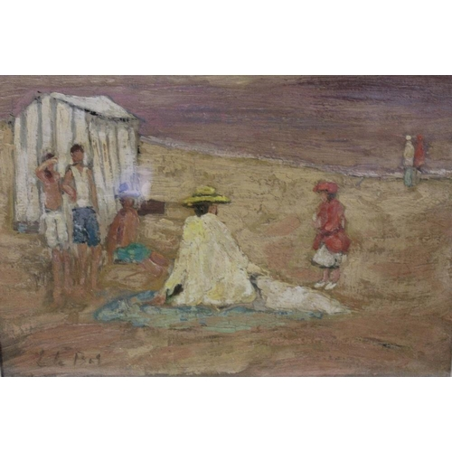 32 - AFTER EDWARD LE BAS (1904-1966). An impressionist beach scene with figures and a bathing tent. Bears...