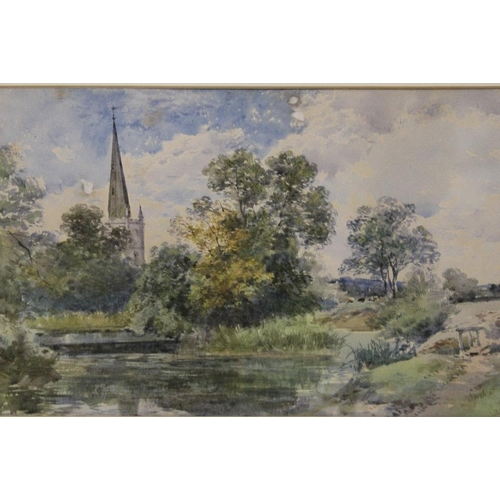 33 - CHARLES ROWBOTHAM. A wooded river landscape with church 'Church at Stratford on Avon', signed with i...