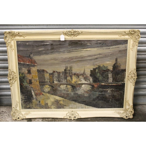 35 - (XX). Impressionist scene of Paris at twilight, signed upper right, oil on canvas, framed, 59 x 90 c...