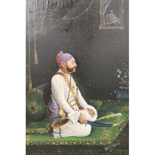 36 - P. On KARLAL (XIX-XX). Indian school, portrait study of a nobleman kneeling on a mat and holding a s...
