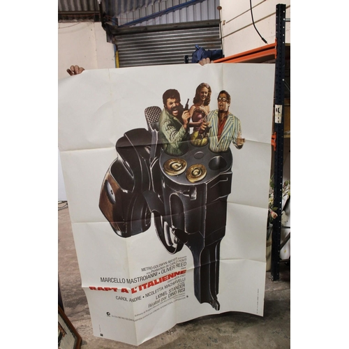 38 - A COLLECTION OF LARGE VINTAGE 1960S ERA FRENCH FILM ADVERTISING POSTERS AVERAGE SIZE - 160CM X 120CM...