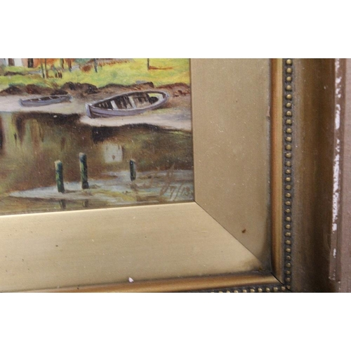 39 - A PAIR OF ANTIQUE GILT FRAMED OILS ON BOARDS DEPICTING HARBOUR SCENES WITH FIGURES INITIALLED LOWER ...