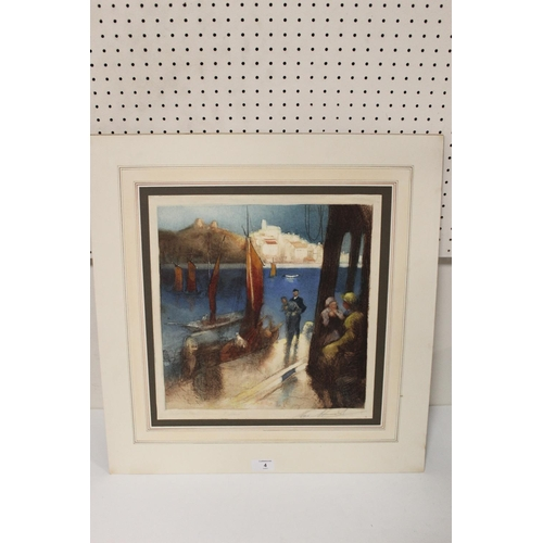 4 - H.A.L. (HENRY WILLIAM LOWE) HURST (1965-1938). A town river scene with boats and figures 'Scarton Ca...